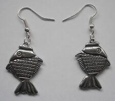 (26mm x 18mm) drop Earrings #1124 Pewter Fish