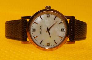 "Women's BULOVA ""97P105"" Quartz Watch Leather Band"