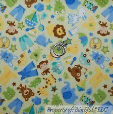 BonEful Fabric FQ Flannel Cotton Quilt Green Blue Star Baby Boy US Animal Shower