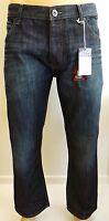 Mens Jeans Waist Size 30 - 40 By Jean Team Loose Fit Cut Dark Denim Trousers