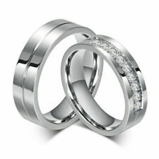 Titanium Steel Lover Her and His Wedding Promise Band Sz 5-12 6MM CZ Couple Ring