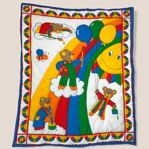 VTG 80s Baby Quilt Wall Hanging Decor Rainbow Bear Blanket Gender Neutral Unisex