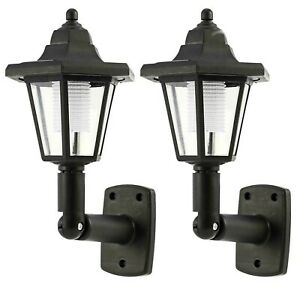 2 x Solar Powered LED Outdoor Garden Fence Wall Lantern Light Lamp Victorian