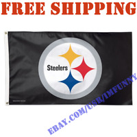 Deluxe Pittsburgh Steelers Logo Banner Flag BLACK 3x5 ft NFL 2019 Fan Home Decor