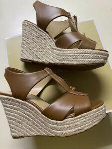Michael Kors Roslyn Wedge Sandal Nappa Luggage Brown Size 8.5 New In Box