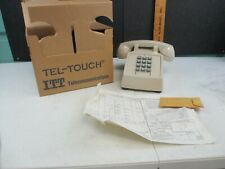 Vintage ITT Telecommunications White Push-Button Desk Phone