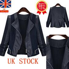 Plus Size Women PU Leather Biker Motorcycle Jacket Ladies Zip Up Coat UK 20-28