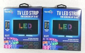 """2 Packs Tzumi USB LED Light Strip 6.5' Remote Control 16 Colors Fit Up To 65"""" TV"""