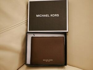 NEW Michael Kors SLIM BILLFOLD Wallet Men's Brown ANDY LEATHER 86S9LANF5L $98