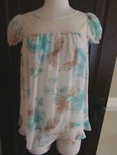 NWT Odille Green Ivory Blouse Sheer FP Anthropologie SZ 10 100% Silk