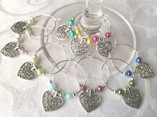 10 Wine Glass Charm Rings WINE LOVERS Birthday Anniversary Party Wedding favours