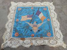 Antique French Hand Embroidery Souvenir De France  62X62cm (X127)