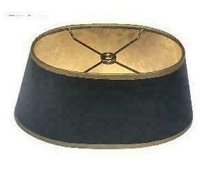 Baldwin Bouillotte Lampshade Oval Vintage Black w. Gold Trim (6x10) x (8x12) x 5