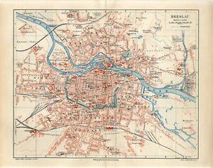 1895 GERMANY BRESLAU CITY PLAN now POLAND WROCLAW Antique Map