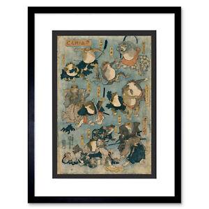Painting Japan Utagawa KabUKi Theatre FrogsFramed Art Print 12x16 Inch