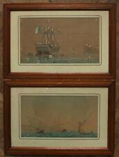 Deux aquarelles marines vaisseaux voiliers, signée Barbier et ancre, fin XIXè