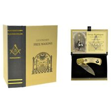 Master Free Mason George Washington Folding Pocket Knife Masonic Gift Box Set