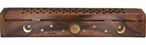 Rose Wooden Coffin Incense Burner - Jali and Sun-Moon-Stars12 - Brass Inlays & S