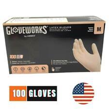 100 Gloves Latex Powder Free Glove Food Smooth Box Case USA Medium Size M