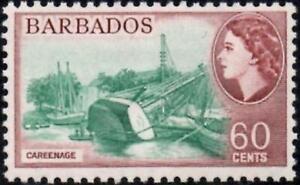 Barbados 1964 QEII Pictorial 60c Careenage Wmk Crown CA  SG.318 Mint (Hinged)