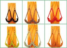 Set of 6 PCS Very Long Handmade Beaded BOHO Hoop Earrings 6 COLORS Party Pack