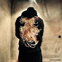 New Men Sweatshirt Tiger Sukajan Hooded Japanese Embroidery Hooded Autumn Jacket