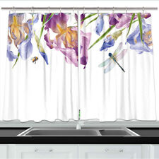 Iris Flowers and Dragonfly Kitchen Curtains 2 Panel Set Decor Window Drapes