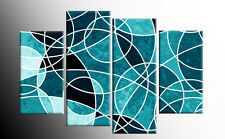 TEAL LARGE ABSTRACT CANVAS WALL ART PICTURE SPLIT 4 PIECE MULTI PANEL 100CM wide