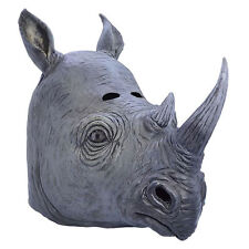 RHINO AFRICAN ANIMAL ZOO FANCY DRESS COSTUME FULL OVERHEAD LATEX RUBBER MASK NEW