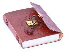 Leather Journal Vintage Look Handmade Antique Lock n Key Diary Celtic Design 7x5