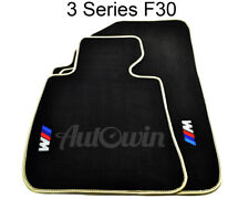 BMW 3 Series F30 Black Floor Mats Beige Rounds With ///M Emblem and Clips LHD