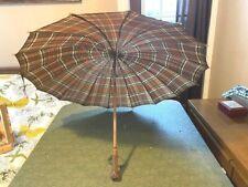 Vintage Plaid Bakelite Handle Umbrella