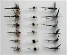 Dry Trout Fishing Flies, 18 pack, Adams, Blue Dun & Caenis, Mixed Size 14 - 18