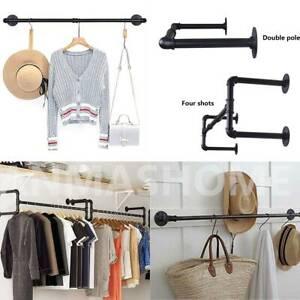 Garderobe 97cm/111cm Wandmontage schwarz Metall-Kleiderstange Industrial Design