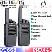 2*Retevis RT668 Walkie Talkie two Way Radio PMR446 16CH long range rechargeable