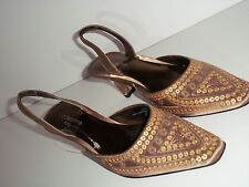 New Women's Size 6.5 M Liz Claiborne Flex Sarong Bronze Chiffon Sling Back Pumps