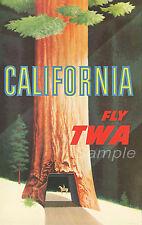 VINTAGE CALIFORNIA TWA TRAVEL A4 POSTER PRINT