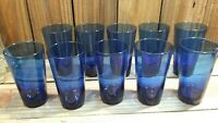 "10 VINTAGE ANCHOR HOCKING COBALT BLUE 6"" Tall 16oz DRINKING GLASS TUMBLER"