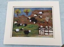 More details for handmade needle felted unique picture-landscape hills, cottage, sheep-ideal gift