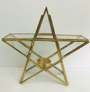 Vintage Glass & Brass 5 Point Star Tea Light Candle Holder Patio Home Decor
