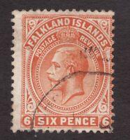 Sc34  / SG64 - Falkland Islands - 6p - KGV - 1911 - Used - superfleas - cv$22.50