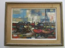 ROMAN SIGNED  PAINTING VINTAGE 1950'S ABSTRACT CUBIST NAUTICAL MARINA PORT YARD