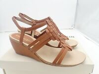 Anne Klein Women's Sport Tilly Wedge Sandal Size 8 M Cognac