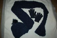 Girls Navy Blue 3 Pc Set Soft Fuzzy Scarf Fleece Lined Hat w/ Pom Stretch Gloves
