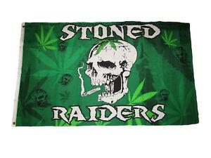 3x5 Weed Stoned Raiders Skull Marijuana Reefer Premium Flag 3'x5' Grommets