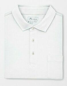 Peter Millar Men's White Solid Seaside Wash S/S Pocket Polo Shirt