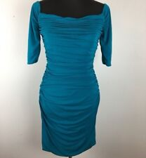 Badgley Mischka Womens Sheath Dress 4 S Aqua Blue Ruched Fitted Cocktail Short