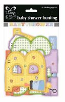 ** 2M UNISEX BABY SHOWER SHAPED BANNER BUNTING PARTY GENDER REVEAL  YELLOW PINK