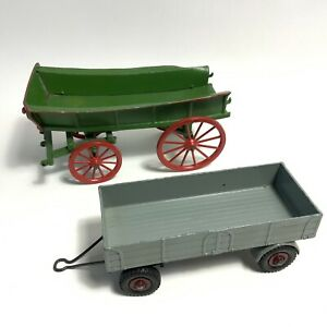 Vintage Dinky 55 Grey Trailer + Green Red Horse Cart Metal Diecast Toys