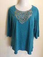 Chico's Womens Embellished Blouse Size 2 Large Blue Patterned 3/4 Sleeve